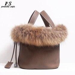 Real Fox Fur Hair Hand Bag Famous Brand Designer Women Tote Bag Natural Genuine Leather Ladies Handbag Picotin Lock Bucket Bag