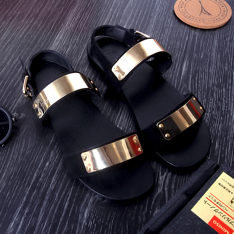a724109d8000 Fashion mens sandals Italy original brand sandal male paillette sequined  golden men gladiator sandals genuine leather sandals