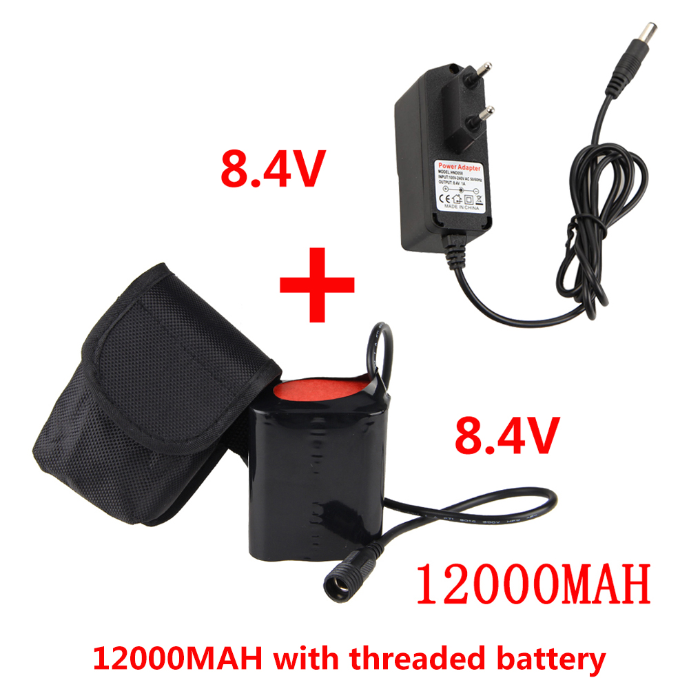 Bike Light Battery 8.4v 12000 mAh Battery Pack for Bike Light with Charger title=