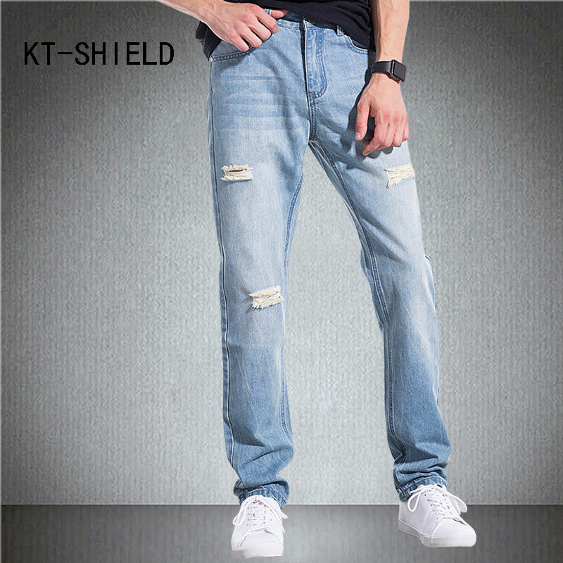 Fashion Slim fit men straight jeans ripped biker motorcycle denim pants hombre Cotton casual homme trousers calca masculina ripped distressed jean hombre slim fit denim overalls fashion mens biker casual hip hop long trousers calca jeans masculina
