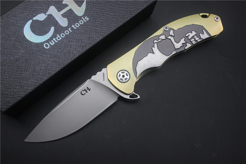 Tactical knife CH 3504 folding knife S35VN blade TOP ball bearing washer TC4 titanium handle outdoors hunting survival knives tactical knife ch 3504 folding knife s35vn blade top ball bearing washer tc4 titanium handle outdoors hunting survival knives