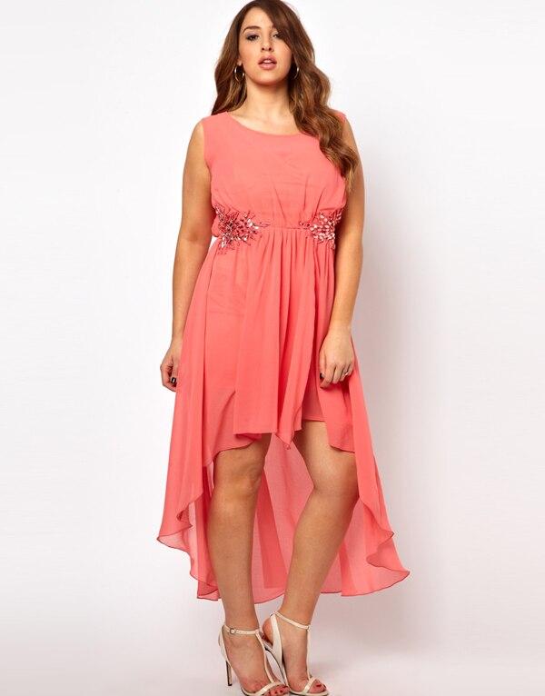 a9c133e0bd Hot sell 2014 big size deep O Neck sleeveless chiffon dress plus ...