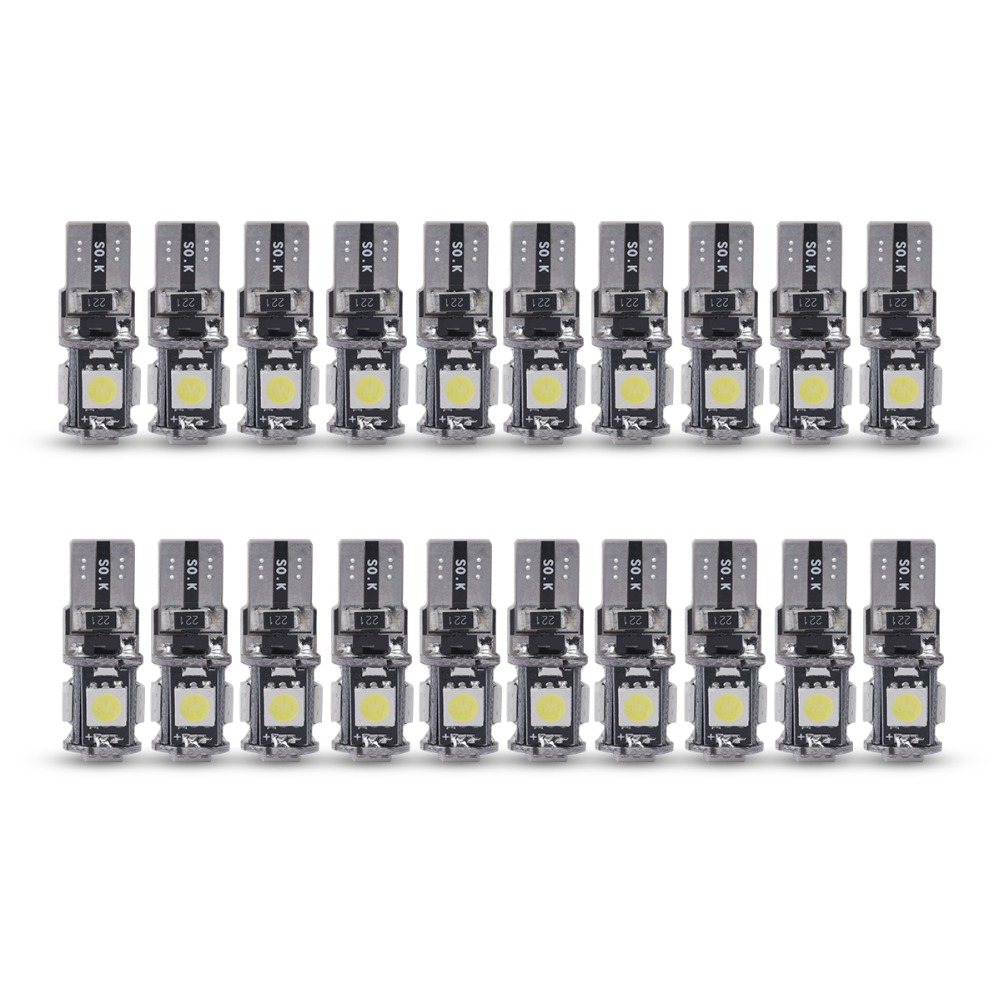 20pcs High quality T10 CANBUS 5SMD 5050 194 W5W 501 5050 5SMD LED White Car Side Tail Light Bulb t10 led canbus w5w led canbus flytop 10 x t10 canbus 5smd 5050 smd error free car bulb w5w 194 led lamp auto rear light white blue yellow red color can bus