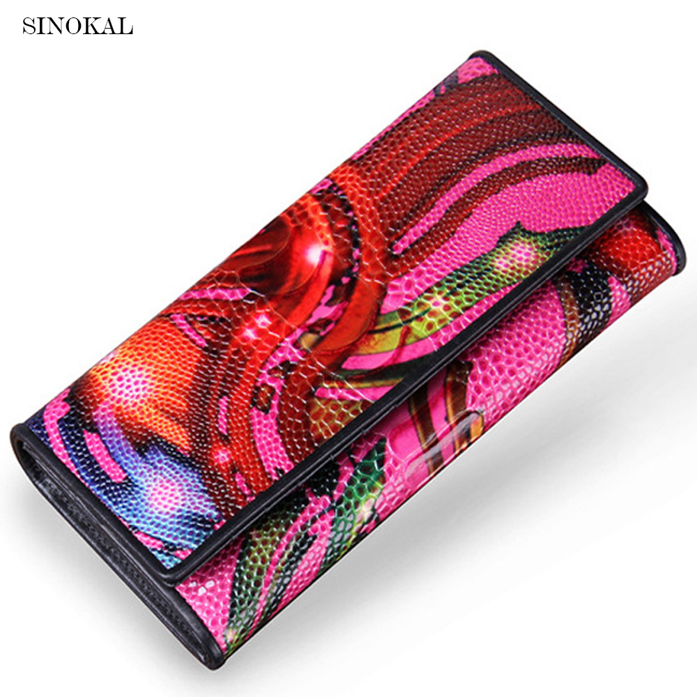 Famous Brand Women Genuine Leather Wallets Ladies' Long Clutches  Printed Card Holder Ostrich Hasp Wallets High Quality