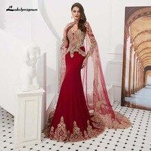 Бордовое арабское мусульманское вечернее платье женские Кафтан Дубай вечерние платья с аппликациями атласные вечерние платья с длинным рукавом