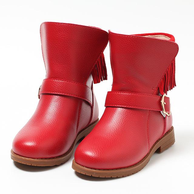 2016 Genuino de Cuero Con Flecos Zapatos De Invierno Botas de Algodón Femenino de Corea Niñas de La Borla de La Hebilla Martin Botas de Los Niños Para Los Niños