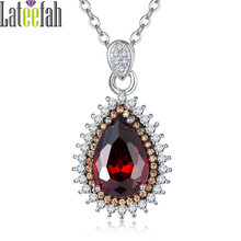 Lateefah Fashion January Birthstone Necklace Gift for Women Large Stone Waterdrop Red Cubic Zirconia Two Tone Plated Necklace