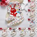 Da criança do bebê das meninas dos meninos de manga longa pijamas captain girafa coelho Pijama impressão Definido Roupa T shirt + Calças Crianças Sleepwear 21