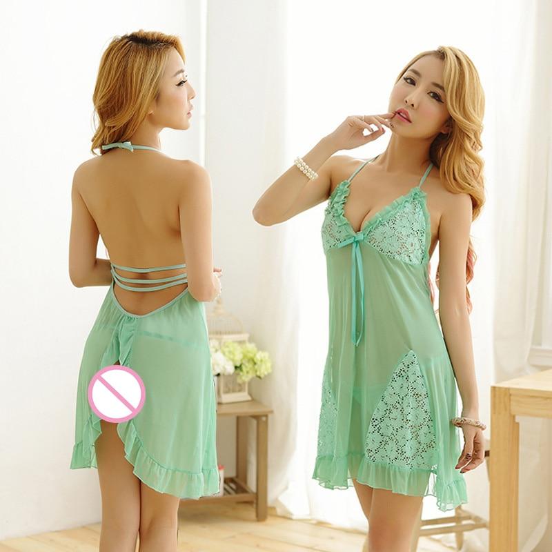 High Quality Sexy Night Gown dress Nightgown Lingerie Clubwear Open Cup Green Dress Sleepwear Nightwear Teddy Babydoll 9167