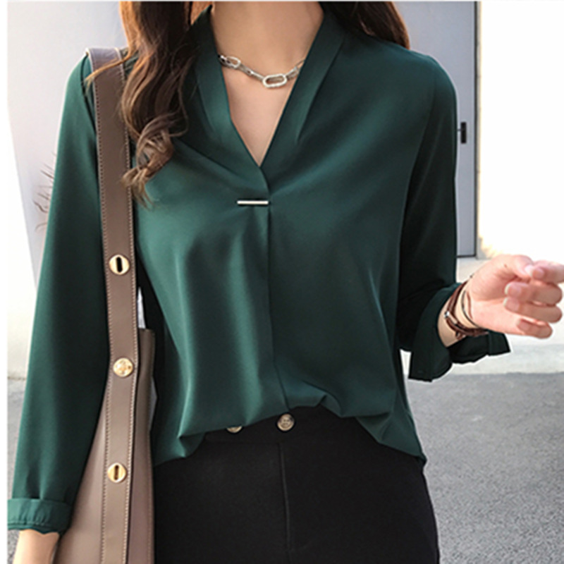 79892945f1 Now Autumn Spring Women Tops and Blouses Chiffon Blouse Long Sleeve Shirts  Fashion Ladies Tops 2018