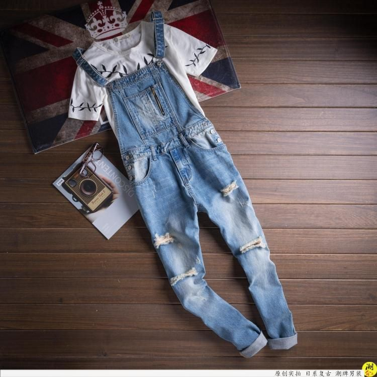 2017 Mens Fashion Ripped Bib Overalls Jeans Brand Designer Casual Distrressed Denim Jumpsuit Blue Jean hole Pants 031503 2015 new mens suspenders jeans fashion distrressed casual extended denim hole pants men overalls bib detachable trousers mb391