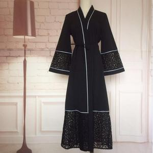 Opened abayas Muslim dress hollow out lace kimono Robe Musulmane Turkish Abaya Muslim cardigan Arab Worship Service W1080