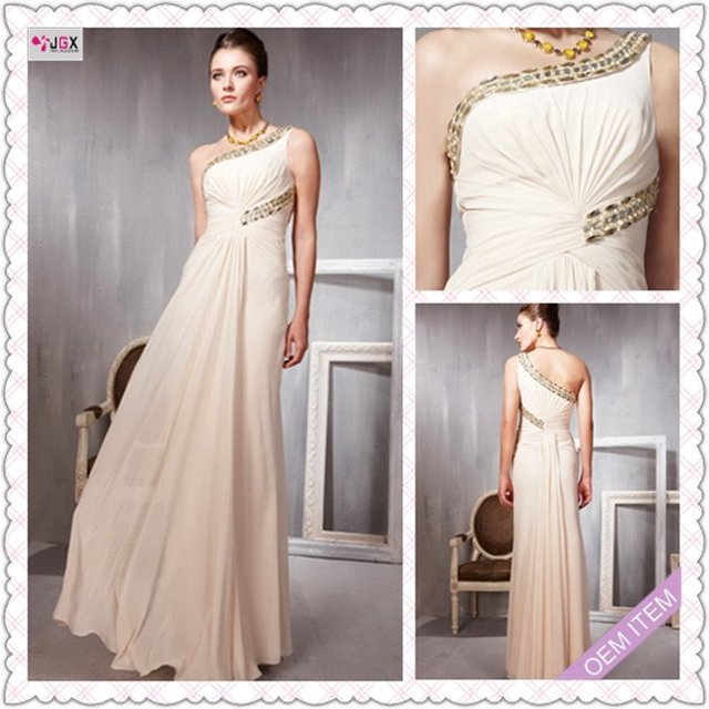 0331 1hs New fashion Elegant Long cream colored beaded evening dress ...