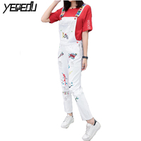 0352 Fashion White Denim Jumpsuit Loose Embroidery Overalls Ankle Length Pants Rompers Combinaison Femme Cropped