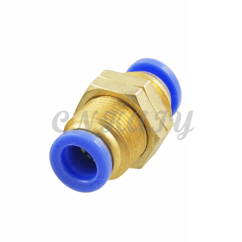 5Pcs OD 8mm to 8mm Pipe M Thread Full Port Pneumatic Bulkhead Union Push Into Connect Fitting Tube One Touch Brass Quick Fitting
