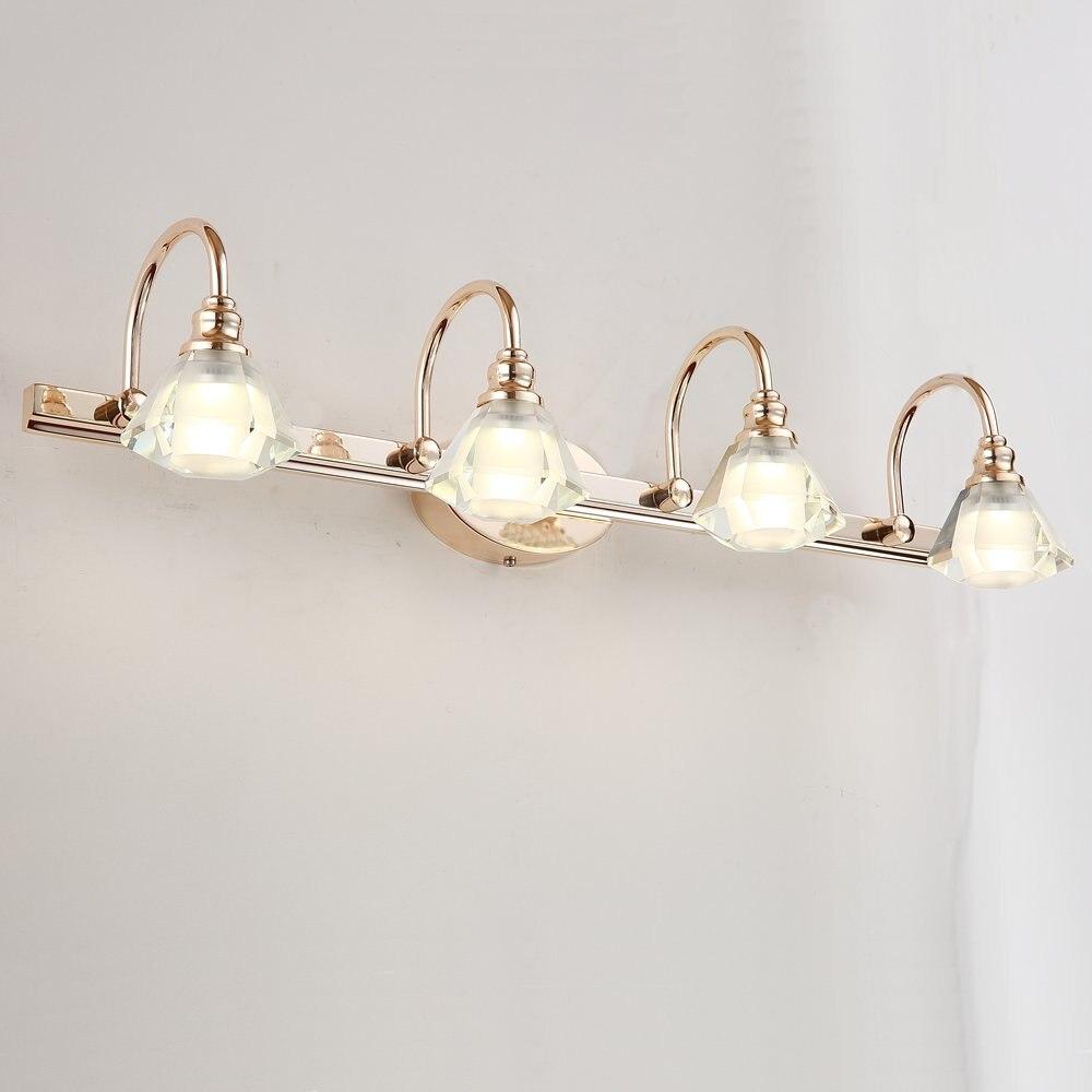 Modern Crystal Heads LED Bathroom Wall Lamp Mirror Front Golden Wall Sconces Washroom Crystal Wall Lighting Fixtures