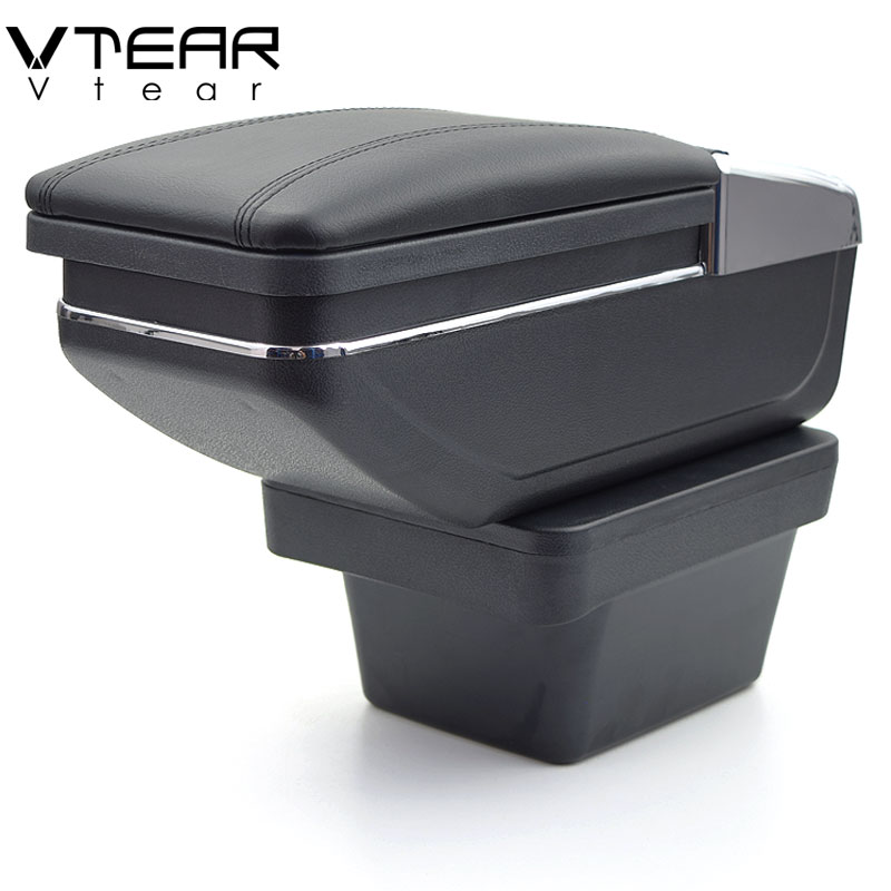 Vtear for Chery Tiggo 2 3X accessories armrest car storage box rotatable interior leather ABS Arm rest car-styling decoration(China)