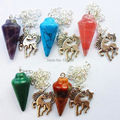 (Min. Order is $10)5pcs Beautiful Mixed Stone Pendulum Pendant Bead A09714
