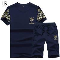 2 PCS 2018 Summer Style Mens Causal Suit Short Sleeve T Shirt Fashion Male Wear Set