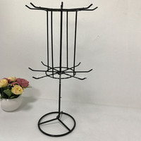 Black Rotating 2Tier Metal Stand With Adjustable Tiered Earring Card Jewelry Charms Keychain Bracelet Necklace Display