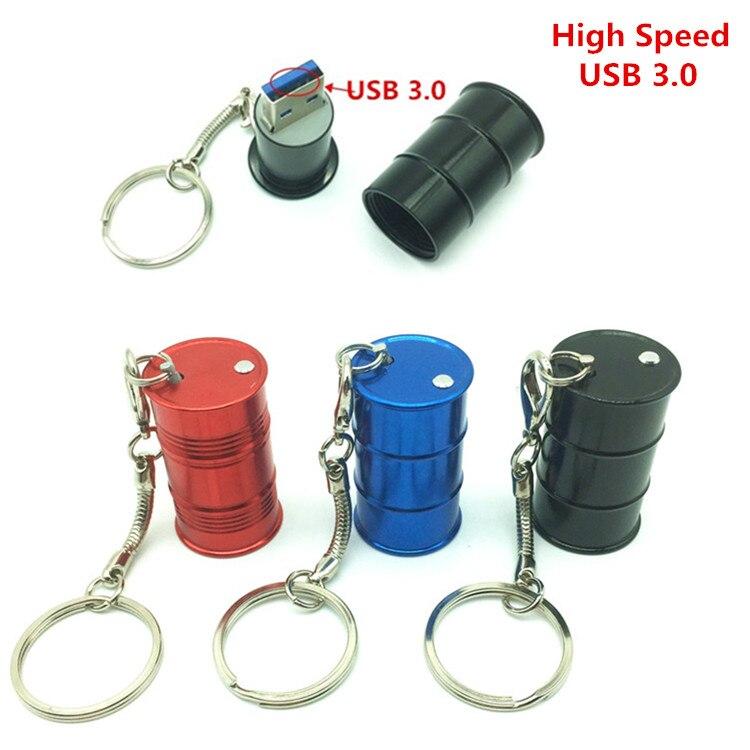 High Speed Metal Barrel usb 3.0 Flash Drive + key Chain Oil Bottle Drum model pen drive memory stick 4GB 8GB 16GB 32GB 64GB