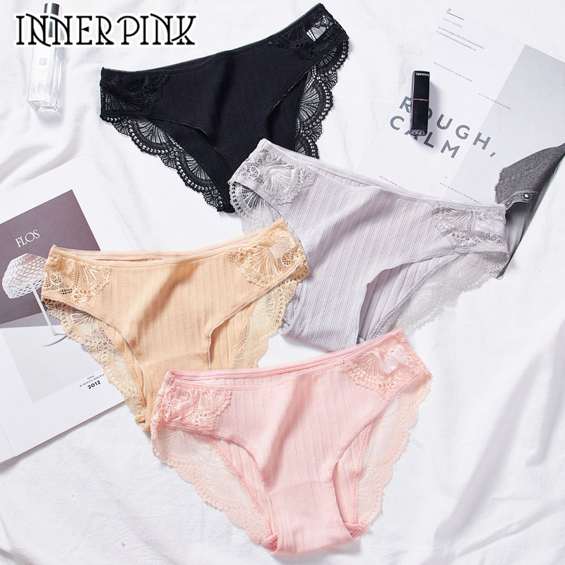 2 Pieces Women Sexy Cotton Panties Female Low-Waist Sexy Lace Edge Underwear Girl's  Breathable Briefs Lingerie Intimates