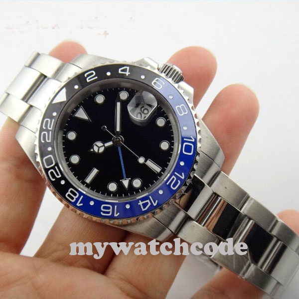 <font><b>40mm</b></font> <font><b>parnis</b></font> black sterile dial GMT stainless steel strap Ceramic Bezel sapphire glass automatic mens <font><b>watch</b></font> 268 image