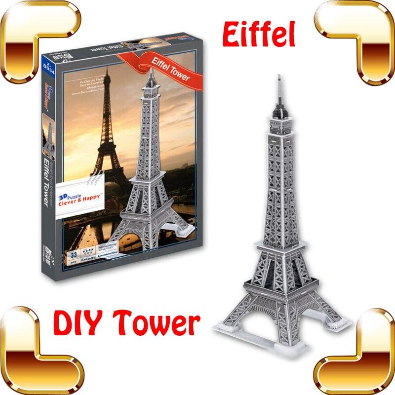Nouvel an cadeau tour Eiffel Puzzle 3D modèle Structure tour française Puzzle bricolage apprentissage jouet décoration Puzzle intérêt jeu