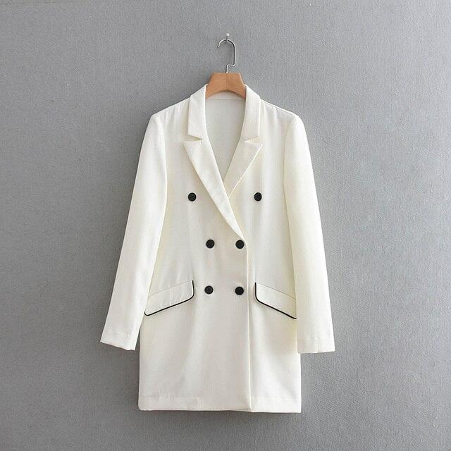 2018 Autumn Streetwear Contrast Binding Double Breasted Women Suits Blazer feminino Pockets Notched Full Sleeve Jacket Blaser
