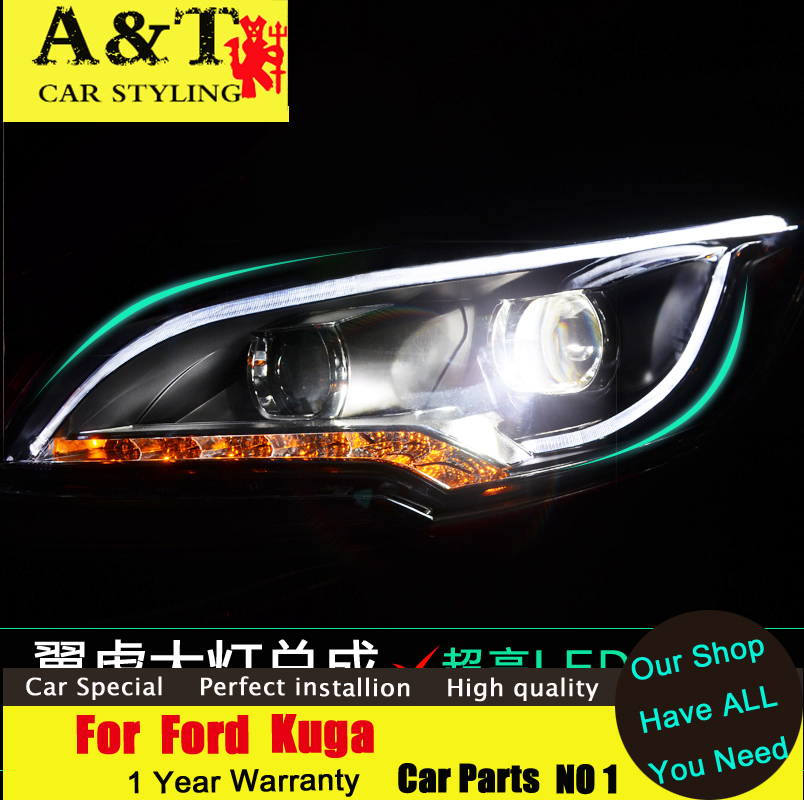 car styling For Ford Kuga Escape xenon headlights 2013-2015 For Kuga led DRL assembly led headlight Bi-xenon H7 HID KIT Car car styling led head lamp for ford kuga led headlights 2014 taiwan escape angel eye drl h7 hid bi xenon lens low beam