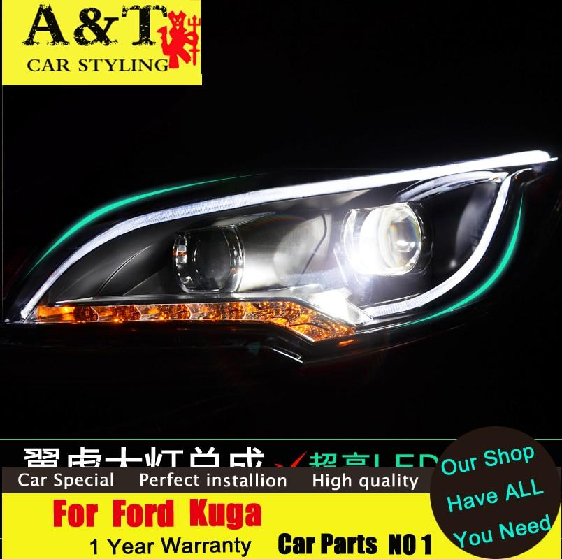 car styling For Ford Kuga Escape xenon headlights 2013-2015 For Kuga led DRL assembly led headlight Bi-xenon H7 HID KIT Car
