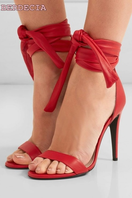 2dd4f7b7990 sexy red leather open toe sandals sweet lace up high heel shoes high  quality ankle strap young woman sandals sweet girls shoes