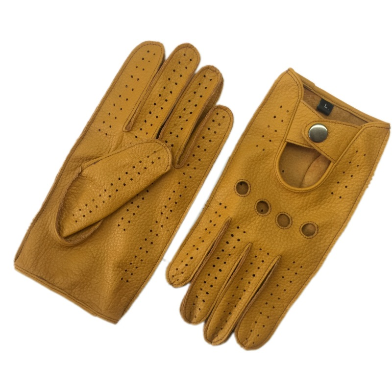 Fashion Leisure Winter Lambskin Men Genuine Leather Gloves Wrist Breathable Solid Sheepskin Driving Unlined Gloves Mittens
