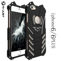R-JUST Cho iphone 6 6 S cộng với case, Armor Heavy Bụi Kim Loại Nhôm CNC BATMAN bảo vệ Skeleton vỏ điện thoại trường hợp che + bracket