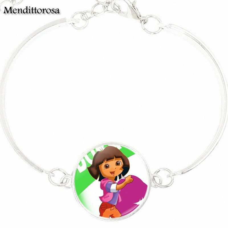 For Wedding Dora The Explorer Jewelry Silver Plated Glass s Bracelet Bangle Bijouterie Glass Cabochon Bracelet Bangle Jewelry