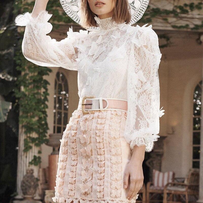 Designer de piste 2019 haute qualité femmes Blouse Vintage blanc dentelle Stand femme Blusas élégant 3D papillon Appliques Chic hauts