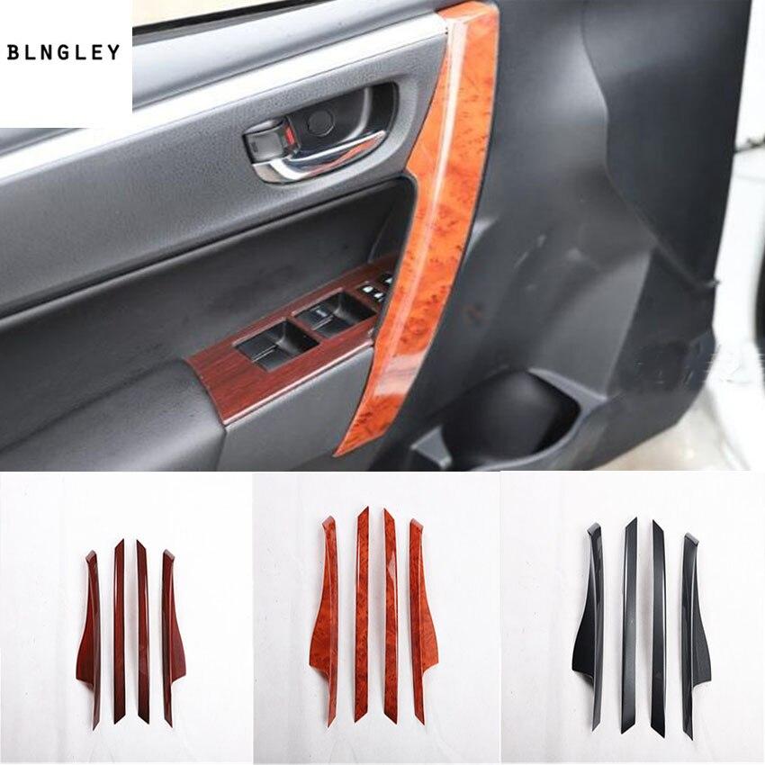 4 pcs/lot ABS grain de fibre de carbone ou grain en bois porte intérieure accoudoir décoration couverture pour 2014-2017 Toyota corolla