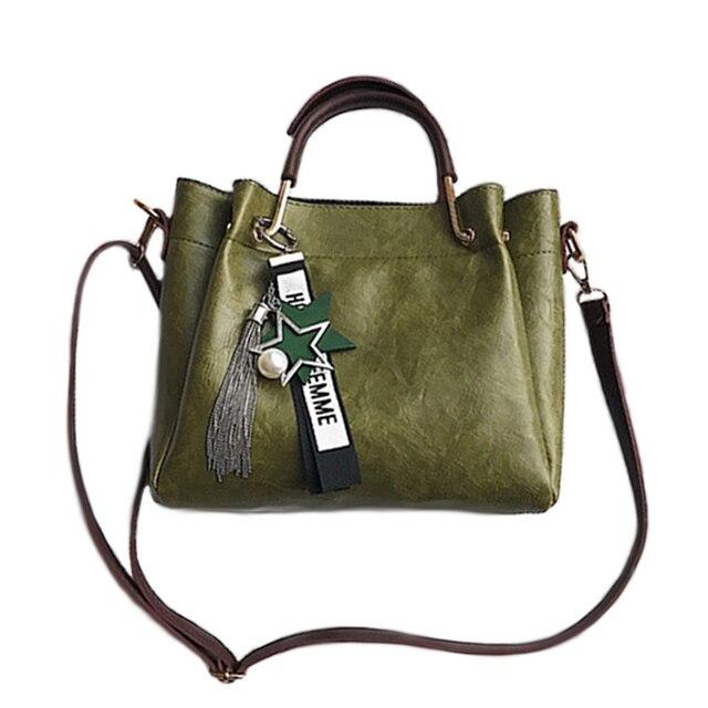 4704d5545bd2 2018 Top-Handle Tote Women Zipper opening Shoulder Messenger Bag Famous  design Fashion soft PU Leather Women s tassel Handbags