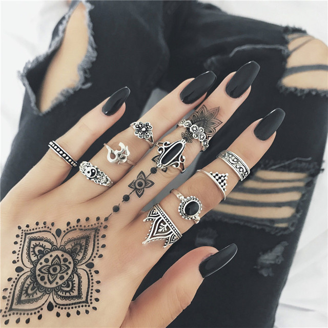 Miss JQ 13pcs/set Boho Style Retro Silver Plated Elephant Hollow Lotus Ring Sets for Women Knuckle Midi Rings Beach Jewelry 5