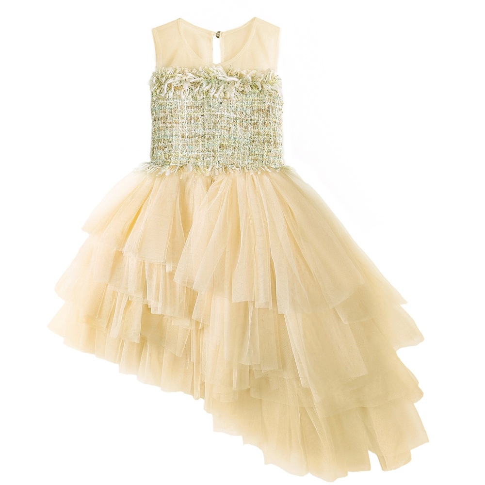 New Baby Girls Dresses Children Irregular Sleeveless Lace Tulle Party Graduation Dress Formal Kids Ball Gown Vestido