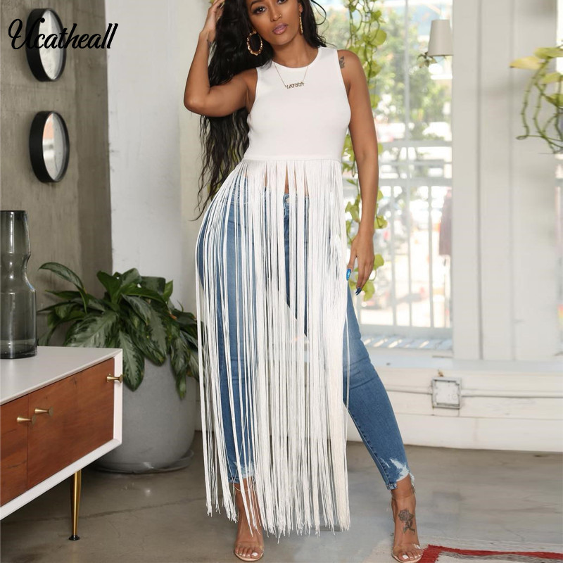 Slveless Sexy Tassels Nightclub T-shirt  Fringe Embellished Causal Top  New Summer Tassel Tee  Women T-shirt