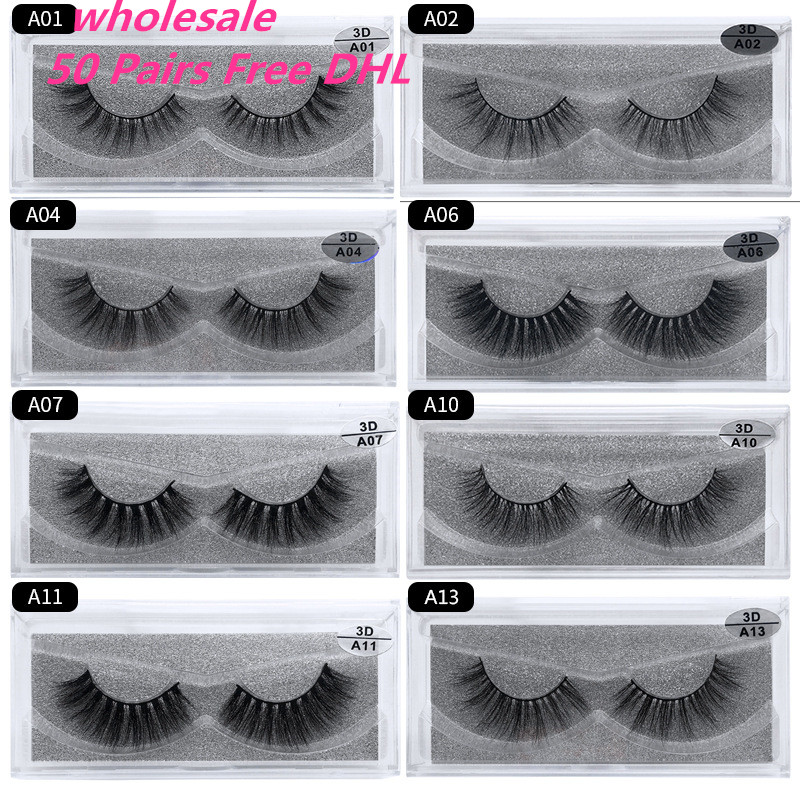 50 Pairs Free DHL Wholesale Mink Eyelashes 3D Mink Lashes Handmade Full Strip Lashes Mink Collection 13 styles False Eyelas mink keer 2 4xl