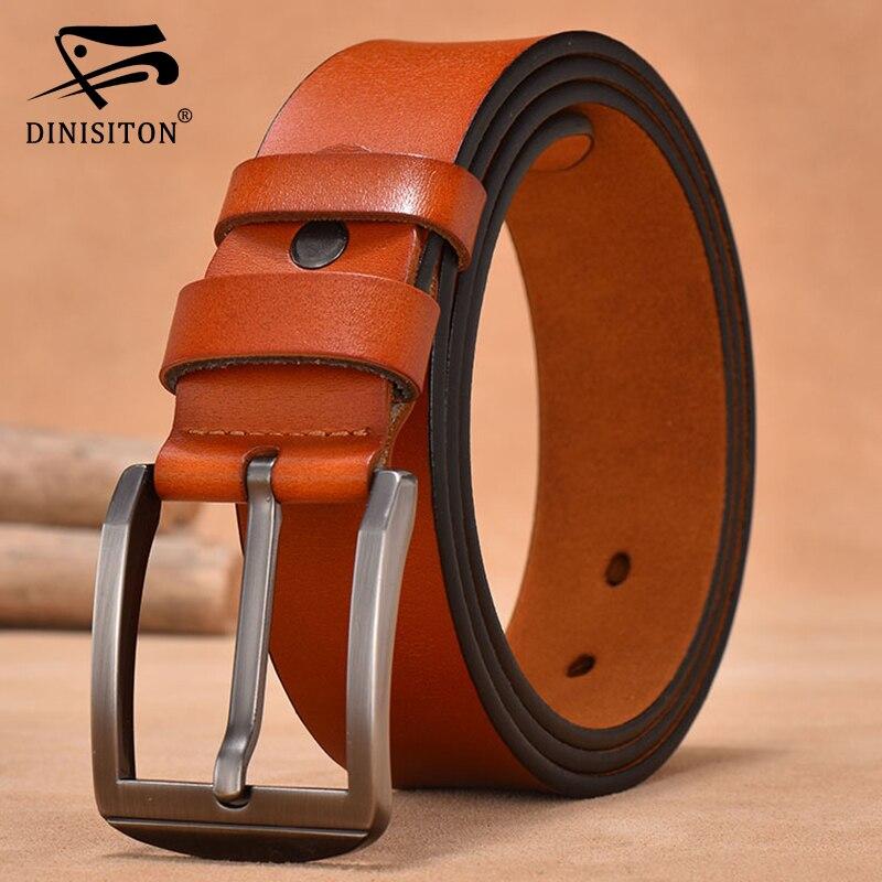 DINISITON Men Belt Designer Cow Genuine Leather Belts For Mens High Quality Luxury Brand New Fashion Vintage Male Strap FG201