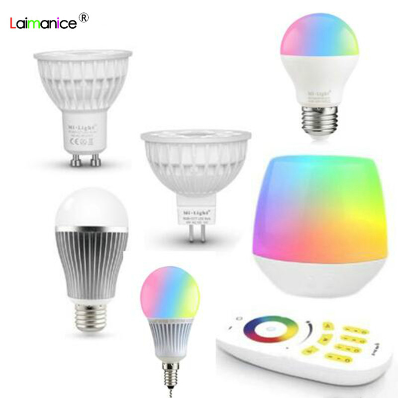 Mi.light 2.4G Wireless Remote Controller APP Wifi iBox Led Bulb MR16 GU10 E14 E27 Smart Lamp 4W 5W 6W 9W 12W RGBW/RGBWW/RGBCCT zigbee bridge led rgbw 5w gu10 spotlight color changing zigbee zll led bulb ac100 240v led app controller dimmable smart led