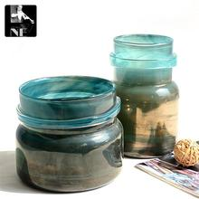 Export to Europe air craft glass vase Home Furnishing metallic blue decoration only samples