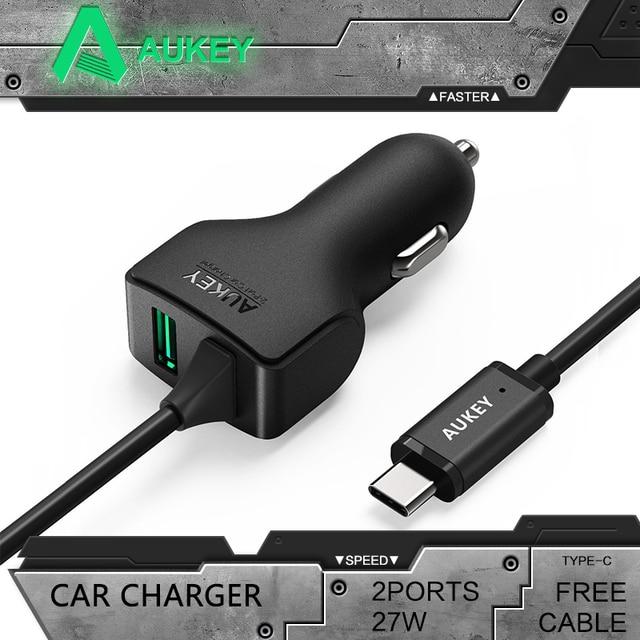 AUKEY Universal 27 W/5.4A Tipo C 2 Portas Inteligente Turbo Carro USB carregador com aipower tecnologia rápido usb carregador de carro para iphone 7 Android