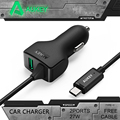 AUKEY Universal 27W/5.4A Type C 2 Ports Smart Turbo USB Car Charger With AIPower Tech Fast USB Car Charger For iPhone 7 Android