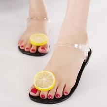 New Arrival Cute Lemon Jelly Shoes Designer Flip Flops Women Summer Beach Shoes Flat Sandals Size 35-39