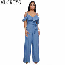 Jumpsuits for Women 2019 Sexy Spring Off Shoulder Ruffles Romper Backless Women's Summer Overalls Blue Denim Jumpsuit YQ097(China)