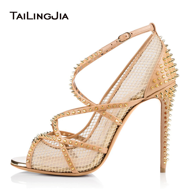 Peep Toe Fishnet High Heel Spikes Pumps for Women 2018 Studded Nude Strappy  Heels Black Mesh Sandals Ladies Summer Shoes 0e1bff7407cc